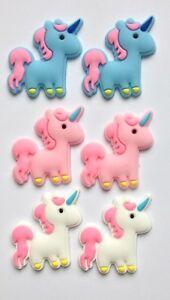 6 Unicorns Flatback Embellishment Cabochon Crafts Bow Making DIY Pink White Blue