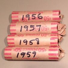 1956 - 1957 - 1958 - 1959 - 4 solid date rolls Young Queen portrait - circulated