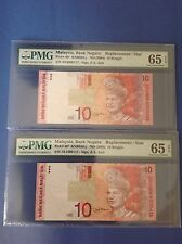 XT RM10 - ZE MALAYSIA REPLACEMENT LOW NUMBER 4 ZERO PMG65-65EPQ GEM UNC PAIR 117