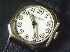 14K Solid Gold IWC Schaffhausen Wrist Watch Rare Caliber 82n C.1920 Art Deco