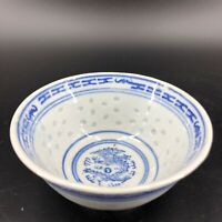 Vintage Chinese Rice Eye Seed Signed Blue White Dragon Small Bowl Translucent