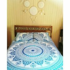 Indian Blue Ombre Mandala Queen Duvet Quilt Cover Bedding Ethnic Boho Blanket