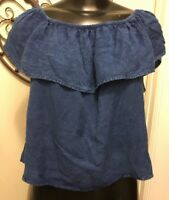 M Style Envy Blue Top with Ruffle NWT