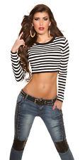 Sexy langarm Shirt Pullover Bauchfrei gestreift Streifen Schwarz Weiß 34 36 38