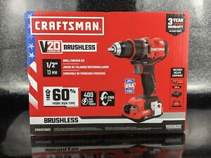 """CRAFTSMAN V20 1/2"""" 20-Volt Cordless drill with 2 Batteries & Bag Sealed in Box"""