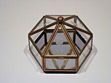 "3-5/8"" Wide Etched Vintage Hexagon GLASS~BRASS Curio DISPLAY Mirror Trinket Box"
