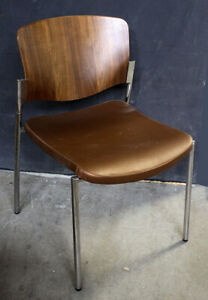 Stylex Bent Walnut Wood Chrome Steel Welcome Leather Seat Office Stackable Chair