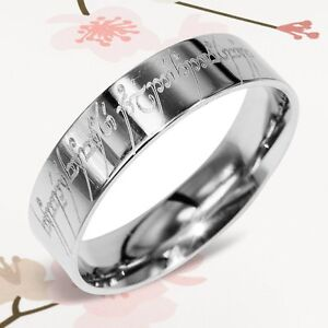 Custom Lord of the Rings Elvish Flat Men Ring Wedding Bands Titanium Rings 6m 48