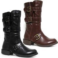 Womens Black Leather Look Block Heels Riding Biker Ladies Combat Mid Calf Boots