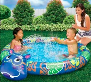 """Banzai Beach Buddy HIPPO Pool With Built In Sprinkler - 60"""" Diameter NEW"""