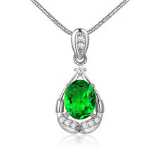 45cm Necklace Oval Emerald 18K Silver Gold Filled Pear Dangle Women Lady Pendant
