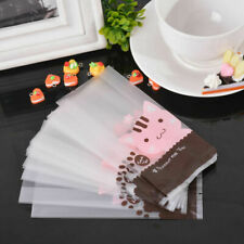 US 50pcs Pink Cat Frosted Candy Bags Cookie Cellophane Package Gift Bag Party