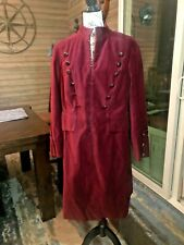 EUC Newport News Burgundy Velvet Military Coat Size 16W