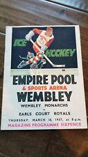 1937 EARLS COURT ROYALS WEMBLEY MONARCHS BRITISH ICE HOCKEY PROGRAM UK COKE AD