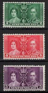 Newfoundland 1937 Sc#230-232 - Coronation Issue Set of 3 Mint MH