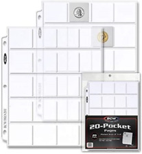 BCW Pro 20-Pocket Pages Pocket Size 2 x2 20 Pages - Coin Collecting Supplies