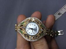 "Handmade High Quality Luxury Ottoman Turkish Arabic 925 silver watch 7"" Emerald"