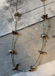 "Liquid Sterling Silver 28"" Silver Fetish Animals 31"" necklace, 29 grams"