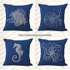 US Seller-4pcs cushion covers anchor seashell jellyfish sofa pillows cheap