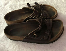 Birkenstocks Women's Granada Brown Leather Sandals Distressed Straps Sz 5 - 5.5