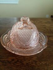Vintage Pink Pressed Glass Covered Butter Or Cheese Dish