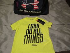 """BRAND NEW Boys UNDER ARMOUR CURRY """"I CAN DO ALL THINGS"""" SC Neon Yxs FREE SHIP!"""