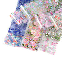 10pcs Nail Foil Polish Stickers Mix Rose Flower Transfer Foil Nails Decal DIY US
