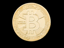 BITCOIN!! Gold Plated Physical Bitcoin in protective acrylic case 2018 in back