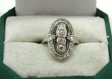 Beautiful Vintage Art Deco  Heavy18ct White Gold Diamond And Sapphire Dress Ring