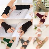 Women's Warmer Fingerless Knitted Winter Gloves Wrist Crochet Mitten Half Finger