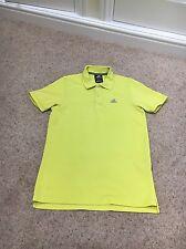 Adidas Polo Shirt Climalite Cotton Yellow Unisex Small VGC