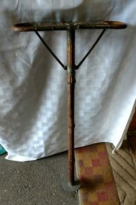 Antique French Style Folding Bamboo Wicker Wood Cane Hunt Chair Stick Seat Stool