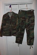 US ARMY CAMO UNIFORM SMALL JACKET COAT OLD IRONSIDES PATCH + MEDIUM PANTS
