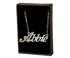 "Name Necklace ""ABBIE"" - 18ct White Gold Plated - Birthday Accessories Christmas"