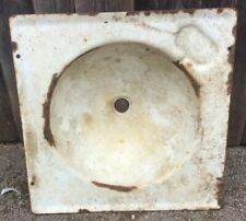 Vintage Enamel Metal White & Green Sink/Basin For Restoration/Water Feature