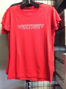 Ladies Victory Motorcycle Dealer back Shirt Red (Medium)