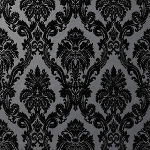 Exclusive Casablanca Velvet Flock Black/Grey Damask Wallpaper (11001)