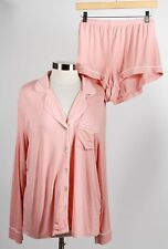 Nwt Ugg Blush White Piping Viscose Blend Women's Long Sleeve Pajama Set Size Xl