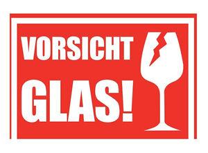 """10-1000 x Aufkleber """"VORSICHT GLAS!"""" - Alternativ Vorsicht Glas Klebeband"""