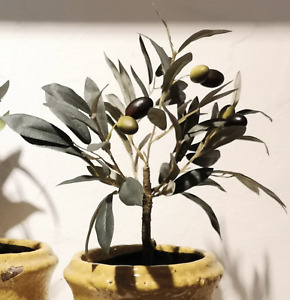 Small Artificial Olive Tree, Realistic Potted Mini Green Faux Plant Houseplant