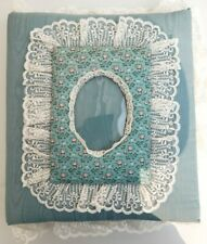 Vintage New Teal Lace Cloth Photo Album Floral Padded Handmade Scrapbook Wedding