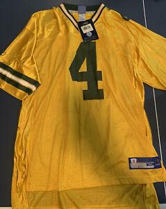 Vintage Reebok Brett Favre #4 Green Bay Packers NFL Yellow Jersey XL Alternate