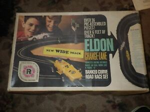 vintage eldon change lane slot car track and box, with crossovers, boy girl,