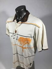 Pepe Jeans London Mens XL White Polo Shirt with Orange and Brown Birds & Trees