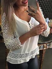 Mode Damen langärmlig lockere Bluse Freizeithemd Sommer chiffon-oberteile