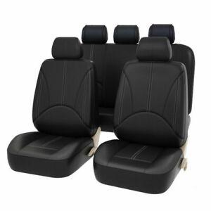Universal Black Heavy Duty Leather Look Car Seat Covers Waterproof Pet Mats Set