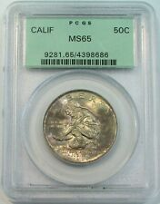 1925 CALIFORNIA COMMEMORATIVE HALF DOLLAR 50C PCGS GREEN LABEL MINT STATE 65