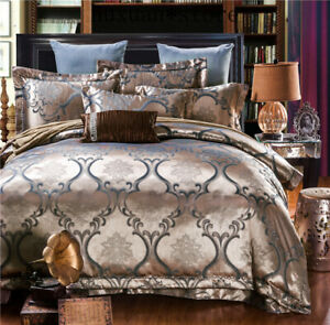 Silk Cotton Satin Large Jacquard Bedding Set Classic Bedclothes Duvet Cover Case