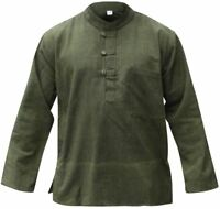 Mens Plain Hemp Collarless Grandad Shirt Full Sleeved Hippie Summer Light Tops