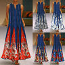 Women Plus Size Print Daily Casual Sleeveless Vintage Bohemian V Neck Maxi Dress